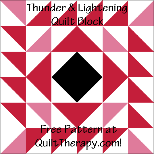 """Thunder & Lightening Quilt Block is a Free Pattern for a 12"""" quilt block at QuiltTherapy.com!"""