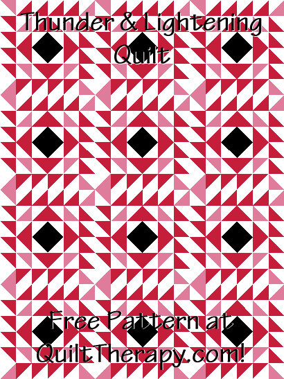 """Thunder & Lightening Quilt is a 36"""" x 48"""" Free Quilt Pattern at QuiltTherapy.com!"""