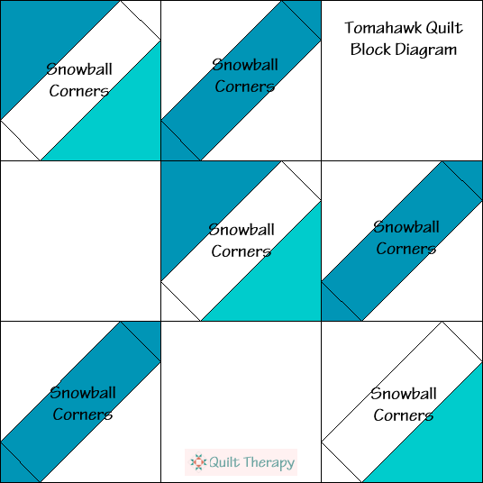 Tomahawk Quilt Block Diagram Free Pattern at QuiltTherapy.com!