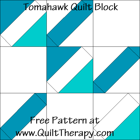 Tomahawk Quilt Block Free Pattern at QuiltTherapy.com!