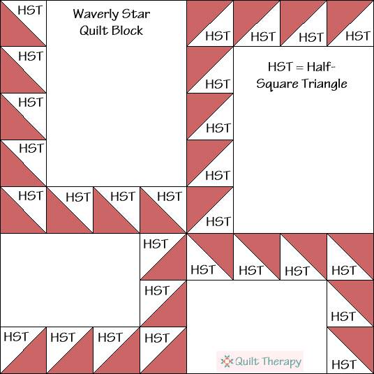 Waverly Star Quilt Block Diagram Free Pattern at QuiltTherapy.com!