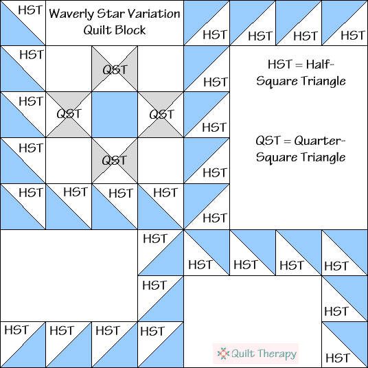 Waverly Star Variation Quilt Block Diagram Free Pattern at QuiltTherapy.com!