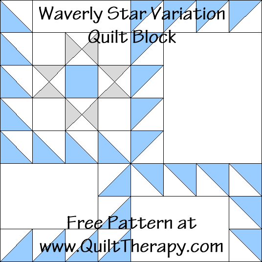 Waverly Star Variation Quilt Block Free Pattern at QuiltTherapy.com!