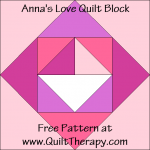 "Anna's Love Quilt Block Free Pattern for a 12"" quilt block at www.QuiltTherapy.com!"