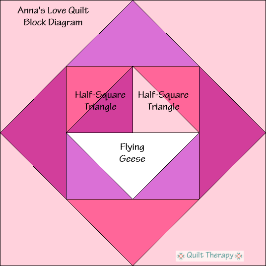 "Anna's Love Quilt Block Diagram Free Pattern for 12"" finished quilt block at QuiltTherapy.com!"