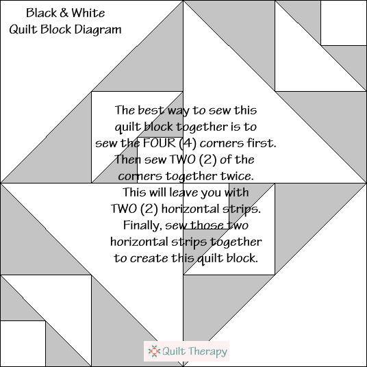 "Black & White Quilt Block Diagram Free Pattern for 12"" finished quilt block at QuiltTherapy.com!"