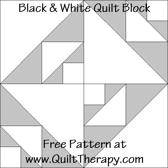 "Black & White Quilt Block Free Pattern for a 12"" quilt block at www.QuiltTherapy.com!"