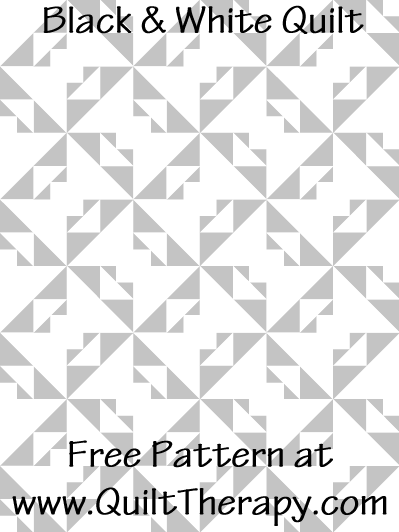 "Black & White Quilt Free Pattern for a 36"" x 48"" quilt at www.QuiltTherapy.com!"