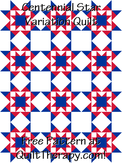 "Centennial Star Variation Quilt Free Pattern for a 36"" x 48"" quilt at QuiltTherapy.com!"