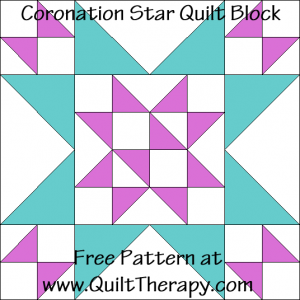Coronation Star Quilt Block Free Pattern at QuiltTherapy.com!