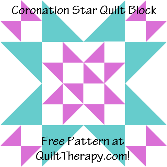 "Coronation Star Quilt Block Free Pattern for a 12"" quilt block at QuiltTherapy.com!"