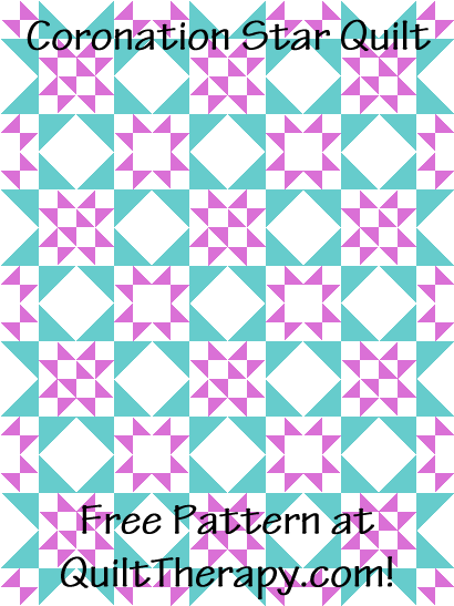 "Coronation Star Quilt Free Pattern for a 36"" x 48"" quilt at QuiltTherapy.com!"
