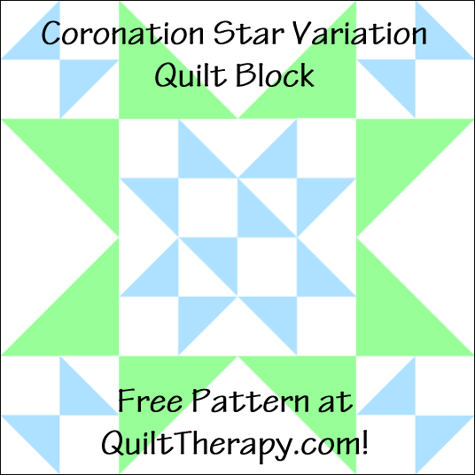 "Coronation Star Variation Quilt Block Free Pattern for a 12"" quilt block at QuiltTherapy.com!"