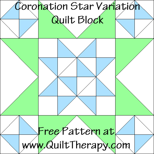 Coronation Star Variation Quilt Block Free Pattern at QuiltTherapy.com!