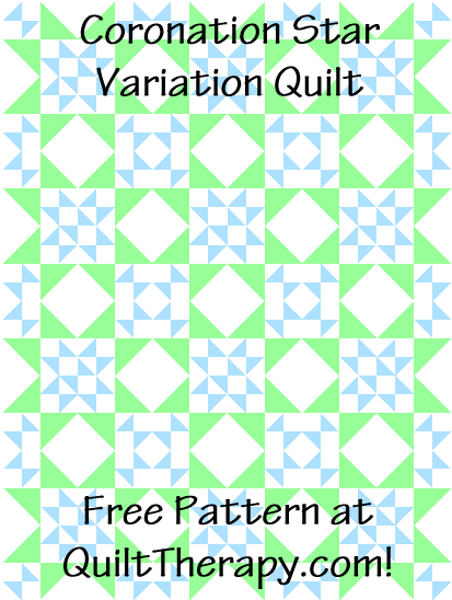 "Coronation Star Variation Quilt Free Pattern for a 36"" x 48"" quilt at QuiltTherapy.com!"