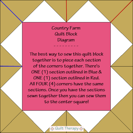 "Country Farm Quilt Block Diagram Free Pattern for 12"" finished quilt block at QuiltTherapy.com!"