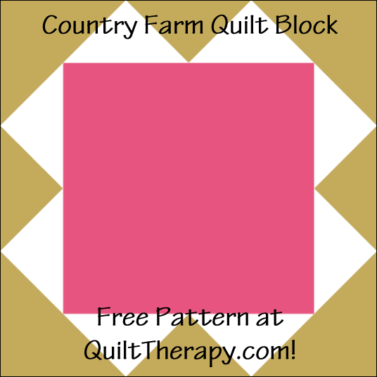 "Country Farm Quilt Block Free Pattern for a 12"" quilt block at QuiltTherapy.com!"