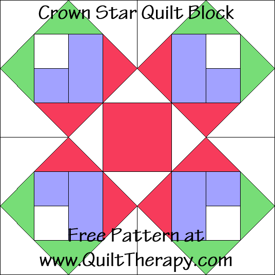 "Crown Star Quilt Block Free Pattern for a 12"" quilt block at www.QuiltTherapy.com!"