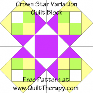 "Crown Star Variation Quilt Block Free Pattern for a 12"" quilt block at www.QuiltTherapy.com!"