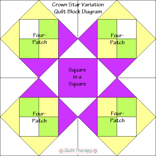 "Crown Star Variation Quilt Block Diagram Free Pattern for 12"" finished quilt block at QuiltTherapy.com!"