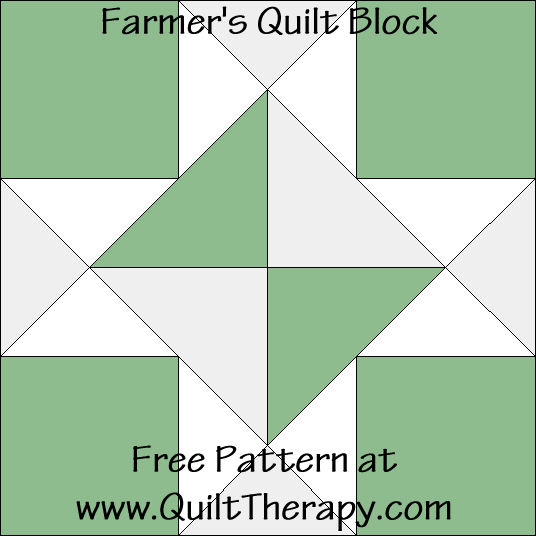 "Farmer's Quilt Block Free Pattern for a 12"" quilt block at www.QuiltTherapy.com!"