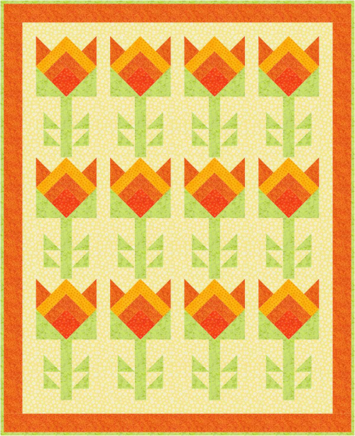 "May's 2019 Quilt Dash ""Blooms All Around"" Free Quilt Pattern for members who complete the May ""Flowers of Summer"" Quilt Dash"