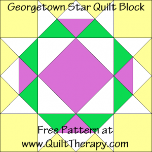 "Georgetown Star Quilt Block Free Pattern for a 12"" quilt block at www.QuiltTherapy.com!"