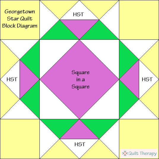 "Georgetown Star Quilt Block Diagram Free Pattern for 12"" finished quilt block at QuiltTherapy.com!"