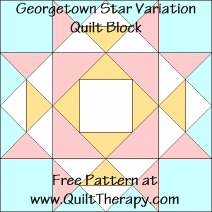"Georgetown Star Variation Quilt Block Free Pattern for a 12"" quilt block at www.QuiltTherapy.com!"
