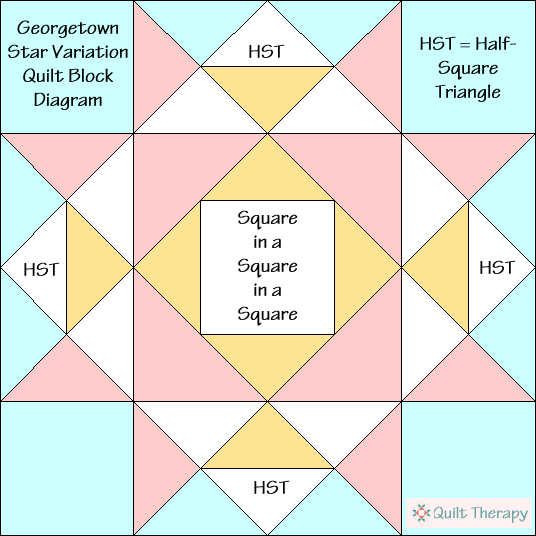"Georgetown Star Variation Quilt Block Diagram Free Pattern for 12"" finished quilt block at QuiltTherapy.com!"