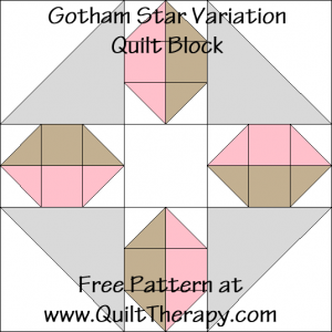 Gotham Star Variation Quilt Block Free Pattern at QuiltTherapy.com!