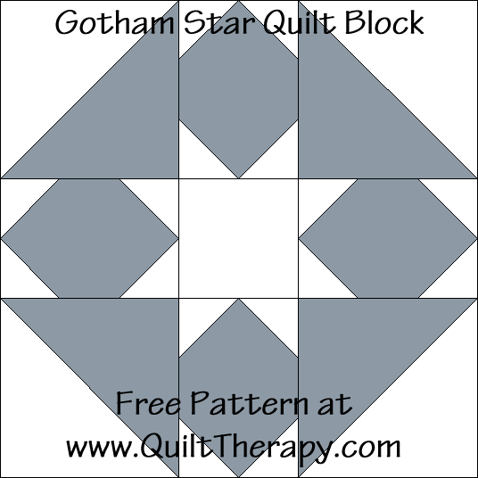 Gotham Star Quilt Block Free Pattern at QuiltTherapy.com!