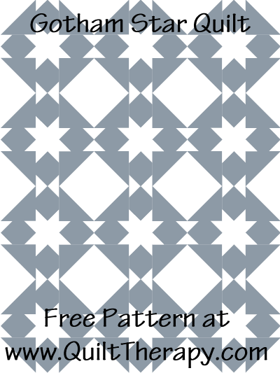 Gotham Star Quilt Free Pattern at QuiltTherapy.com!