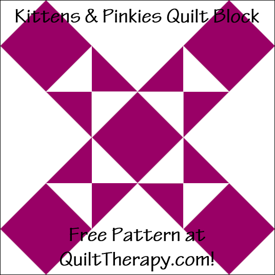"""Kittens & Pinkies Quilt Block Free Pattern for a 12"""" quilt block at QuiltTherapy.com!"""