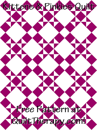 """Kittens & Pinkies Quilt Free Pattern for a 36"""" x 48"""" quilt at QuiltTherapy.com!"""