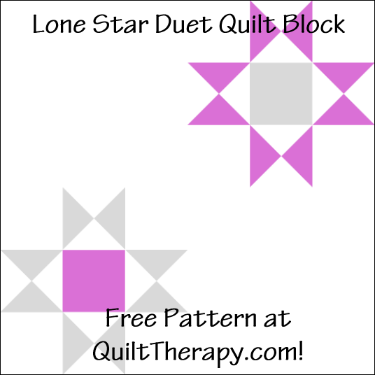 "Lone Star Duet Quilt Block Free Pattern for a 12"" quilt block at QuiltTherapy.com!"