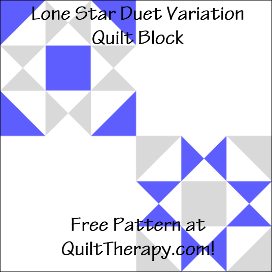 "Lone Star Duet Variation Quilt Block Free Pattern for a 12"" quilt block at QuiltTherapy.com!"