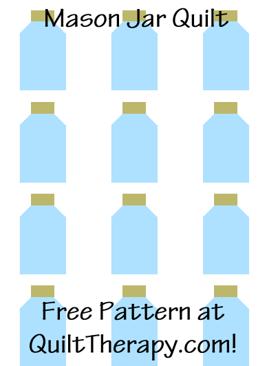 """Mason Jar Quilt Free Pattern for a 36"""" x 48"""" quilt at QuiltTherapy.com!"""