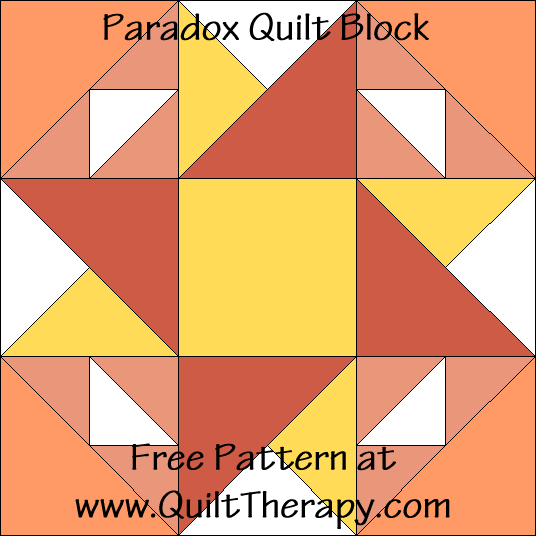 "Paradox Quilt Block Free Pattern for a 12"" quilt block at www.QuiltTherapy.com!"
