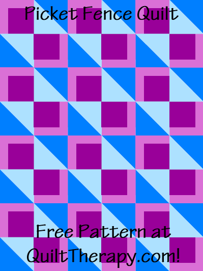 """Picket Fence Quilt Free Pattern for a 36"""" x 48"""" quilt at QuiltTherapy.com!"""