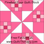 Pinwheel Four Quilt Block Free Pattern at QuiltTherapy.com!