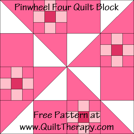Pinwheel Four Quilt Block Free Pattern at QuiltTherapy.com!
