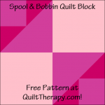 """Spool & Bobbin Quilt Block Free Pattern for a 12"""" quilt block at QuiltTherapy.com!"""