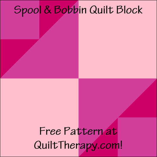 "Spool & Bobbin Quilt Block Free Pattern for a 12"" quilt block at QuiltTherapy.com!"