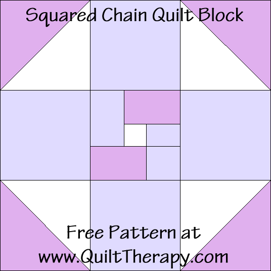 "Squared Chain Quilt Block Free Pattern for a 12"" quilt block at www.QuiltTherapy.com!"