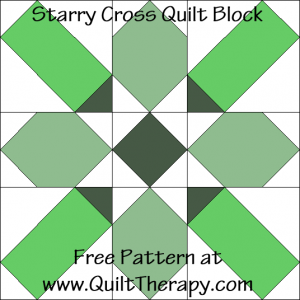"Starry Cross Quilt Block Free Pattern for a 12"" quilt block at www.QuiltTherapy.com!"