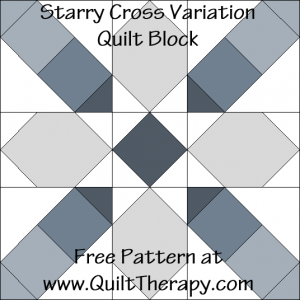 "Starry Cross Variation Quilt Block Free Pattern for a 12"" quilt block at www.QuiltTherapy.com!"