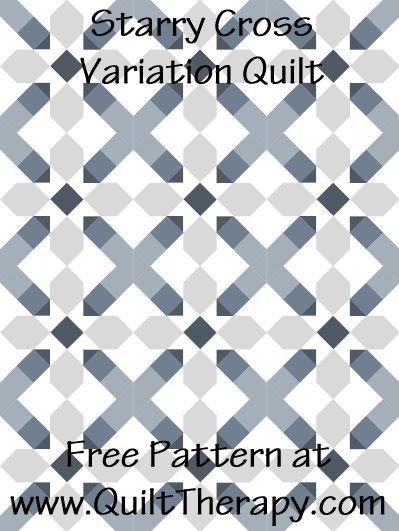 """Starry Cross Variation Quilt Free Pattern for a 36"""" x 48"""" quilt at www.QuiltTherapy.com!"""