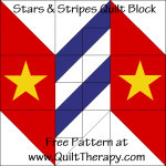 "Stars & Stripes Quilt Block Free Pattern for a 12"" quilt block at www.QuiltTherapy.com!"