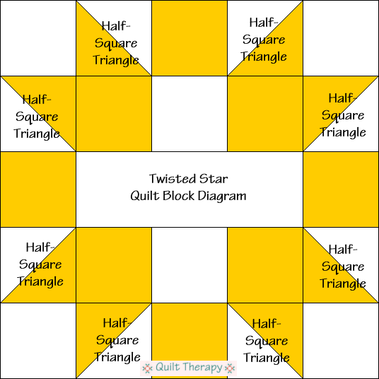 "Twisted Star Quilt Block Diagram Free Pattern for 12"" finished quilt block at QuiltTherapy.com!"